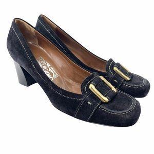 Salvatore Ferragamo black suede block heel pumps-7